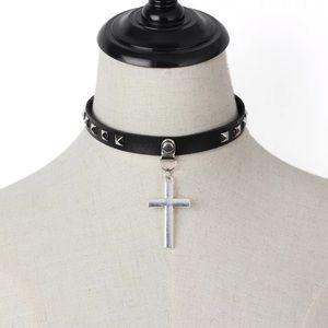 Studded cross black choker
